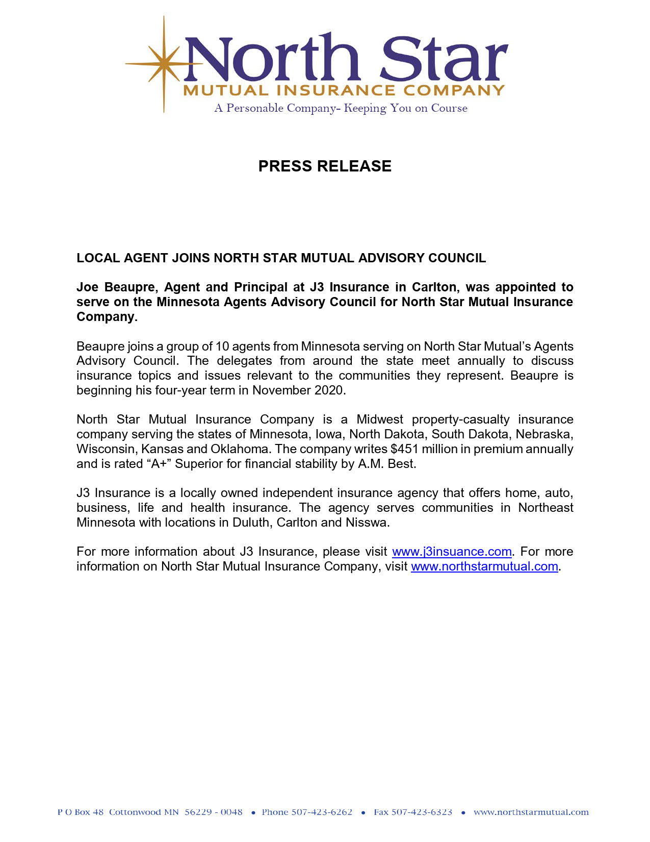 update NORTH STAR PRESS RELEASE - Advisory Council_1